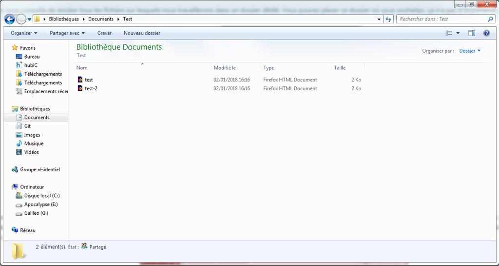 Illustration d'un dossier avec deux fichiers HTML