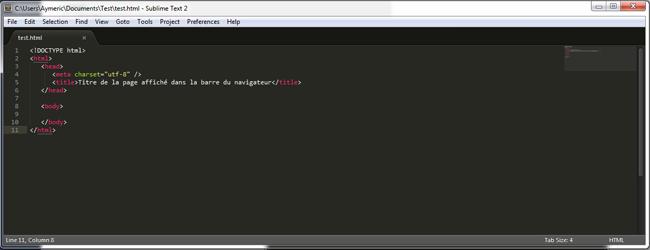 Fichier HTML basique dans Sublim Text 2