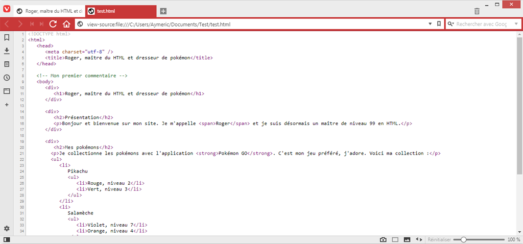 Illustration du code source d'une page